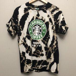 Custom bleached Starbucks coffee graphic tee shirt